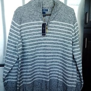 New - Preppy Striped Pullover w/ Zipper 1X 16W
